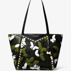 Michael Kors Large Butterfly Camo Black Tote Bag